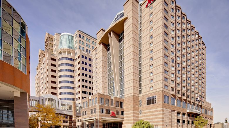 "Cincinnati Marriott at RiverCenter Exterior. Images powered by <a href=""http://www.leonardo.com"" target=""_blank"" rel=""noopener"">Leonardo</a>."