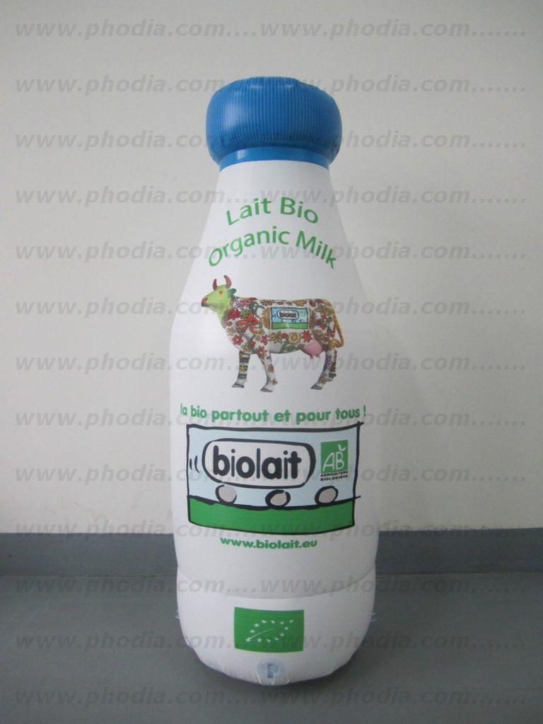 bouteille de lait bio géante en plastique gonflable pour faire de la publicité