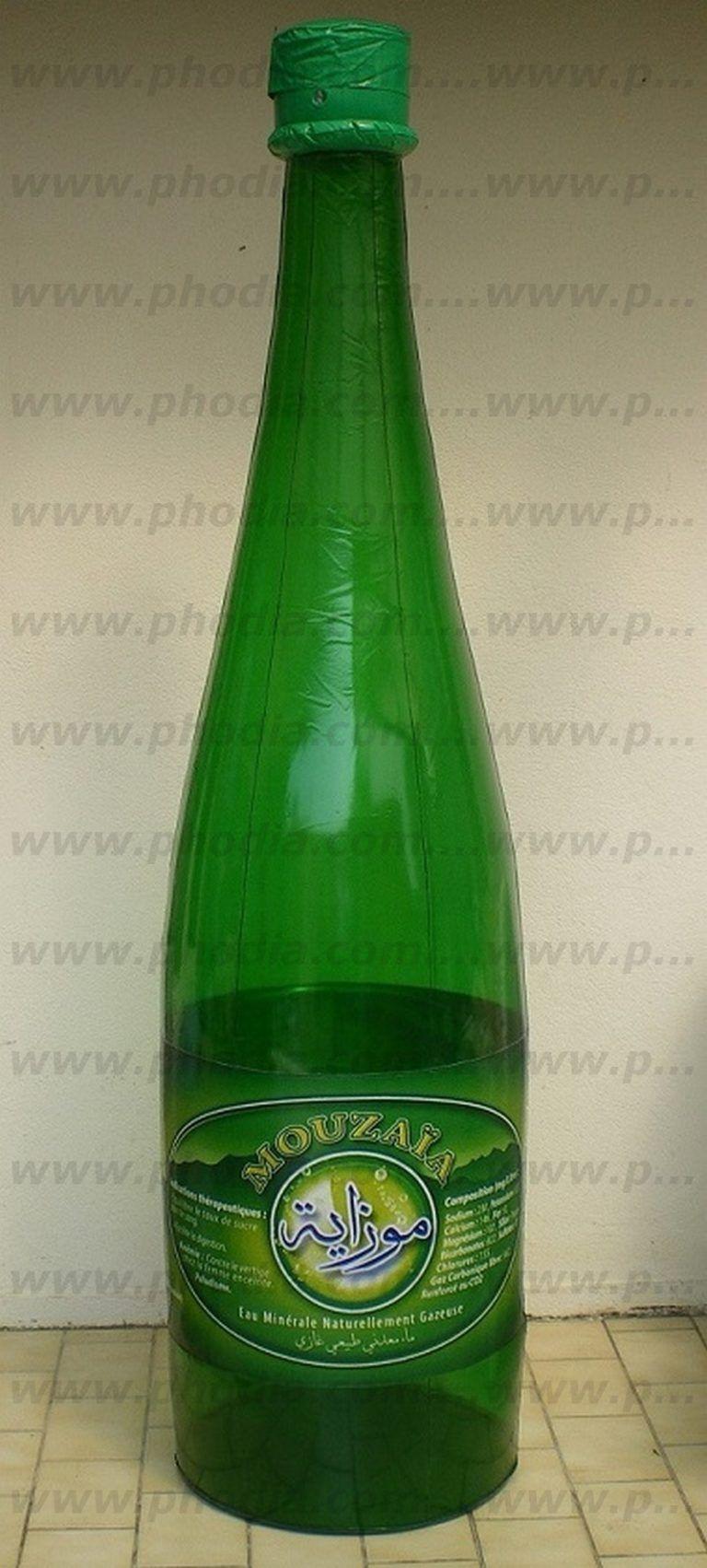 bouteille d'eau verte transparente géante avec logo 2 faces
