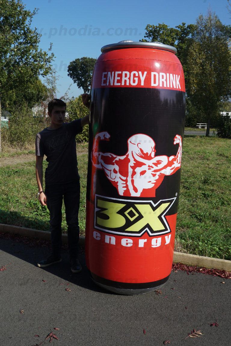 canette d'énergie drink 3x géante gonflée à l'air plv géante pour hyper