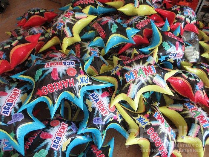 etoiles haribo miami et academy gonflée à l'air pour distribuer aux commerciaux