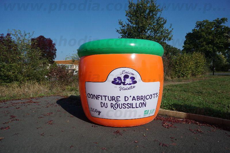 gros pot de confiture gonflable abricot de 3m