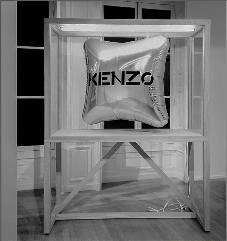 vitrine coussin kenzo avec éclairage