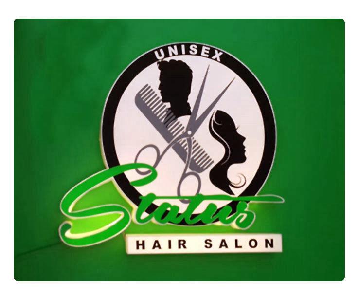 Status Salon Signage Design