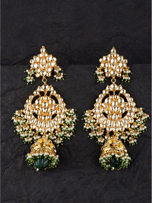 Statement Emerald Carved Stone Earrings