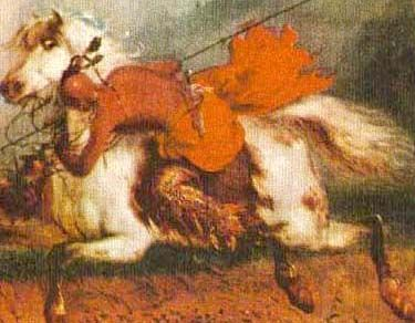 Picture of Sioux Warrior Demonsrating Comanche Riding Technique