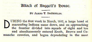 Attack of Baggett's House story from the book Indian Depredations in Texas by J. W. Wilbarger