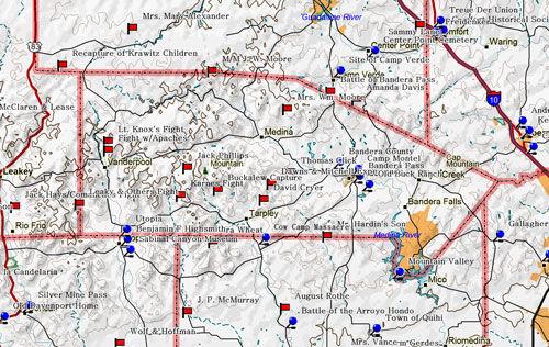Map of Bandera County Historic Sites