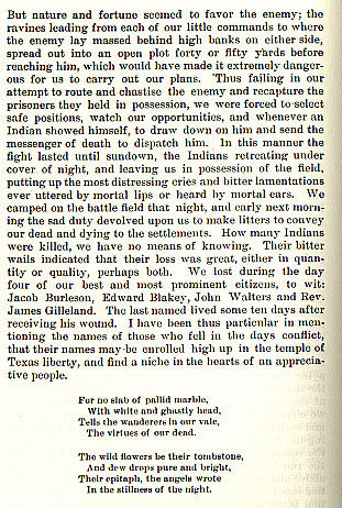 The Battle of Brushy story from the book Indian Depredations in Texas by J. W. Wilbarger