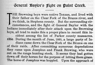 General Baylor's Fight on Paint Creek story from the book Indian Depredations in Texas by J. W. Wilbarger