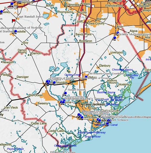 Map of Brazoria County Historic Sites