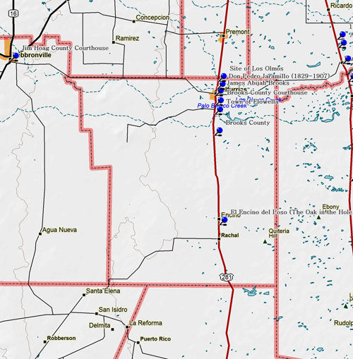 Map of Brooks County Historic Sites