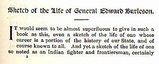 Sketch of the Life of General Edward Burleson story from the book Indian Depredations in Texas by J. W. Wilbarger
