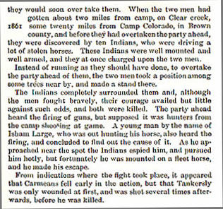 Carmeans and Tankersly story from the book Indian Depredations in Texas by J. W. Wilbarger