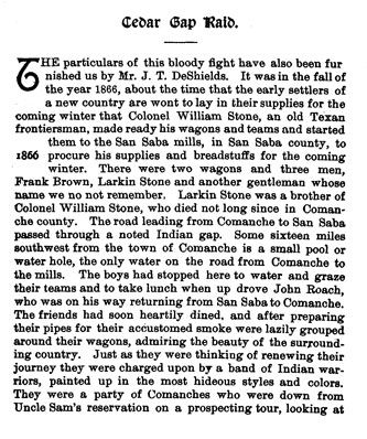 Cedar Gap Raid story from the book Indian Depredations in Texas by J. W. Wilbarger
