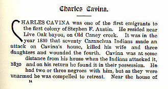 Charles Cavina story from the book Indian Depredations in Texas by J. W. Wilbarger