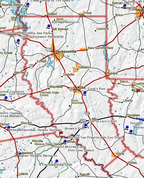 Map of Cherokee County Historic Sites