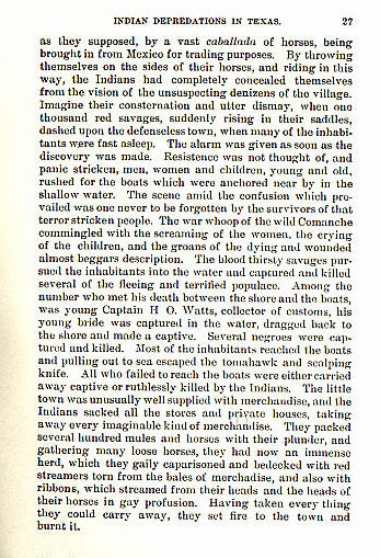 Great Comanche Invasion-Attack on Victoria-Sacking of Linnville story from the book Indian Depredations in Texas by J.W. Wilbarger