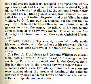 Cordova Fight story from the book Indian Depredations in Texas by J. W. Wilbarger