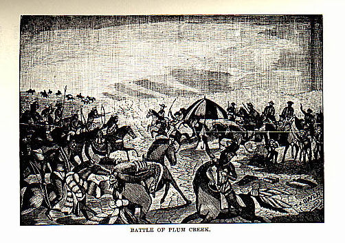Battle of Plum Creek picture from the Council House Fight in San Antonio story from the book Indian Depredations in Texas by J. W. Wilbarger