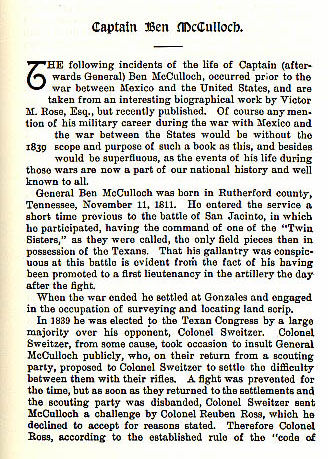 Captain Ben McCulloch story from the book Indian Depredations in Texas by J. W. Wilbarger