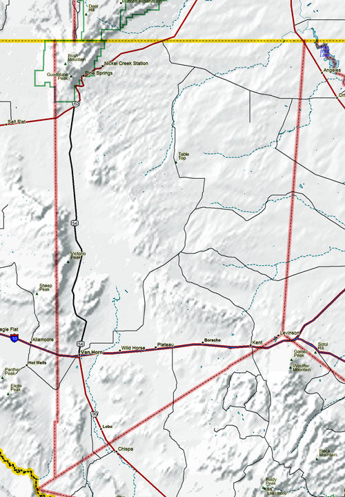 Map of Culberson County Historic Sites