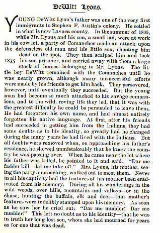 DeWitt Lyons story from the book Indian Depredations in Texas by J. W. Wilbarger