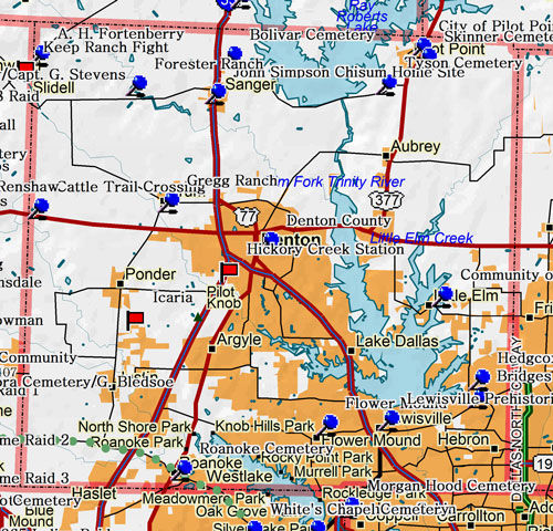 Map of Denton County Historic Sites