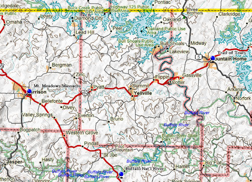 Map of Eastern NW Arkansas Historical Sites