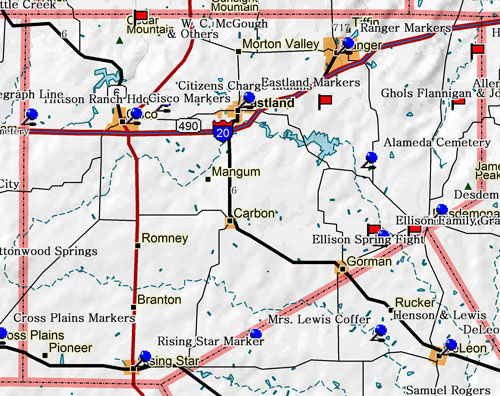 Map of Eastland County Historic Sites