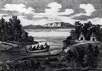 Picture of Indians in Canoe with White Men Captured during the Deerfield Massacre
