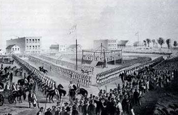 Picture of the Execution of the 38 Sioux Indians at Mankato in December 1862