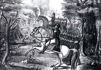 Picture of Arthur St. Clair battling Indians near Fort Wayne, Ohio, 4 November 1791