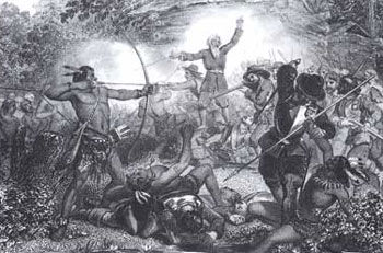 Picture of General Geoffe repulsing the Indians at Hadley Mountain during King Philip's War