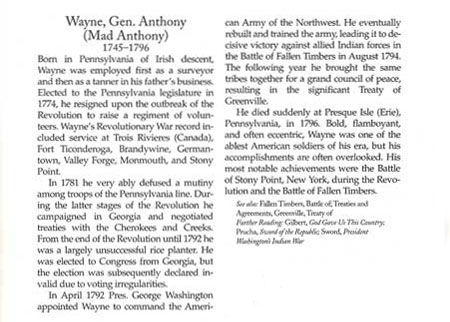 Story of Gen. Mad Anthony Wayne