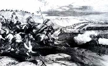 Picture of General Crook's battle on the Rosebud River in Montana