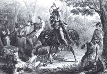 Picture of Tecumseh saving prisoners during the Northwest Indian War