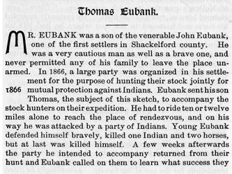 Thomas Eubank story from the book Indian Depredations in Texas by J. W. Wilbarger