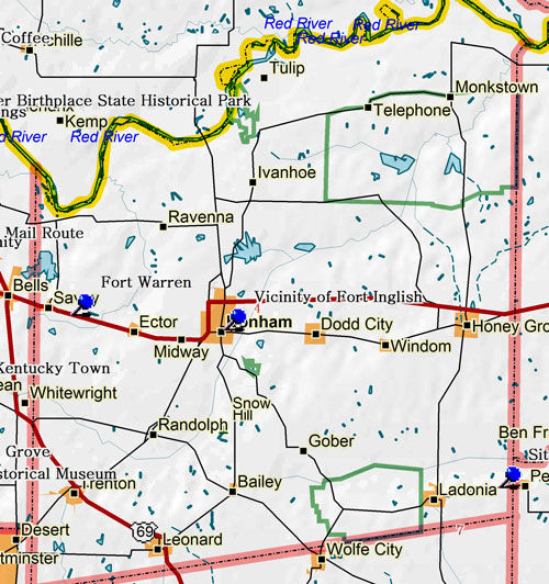 Map of Fannin County Historic Sites