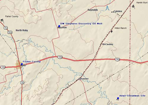 Map of Fisher County Historic Sites
