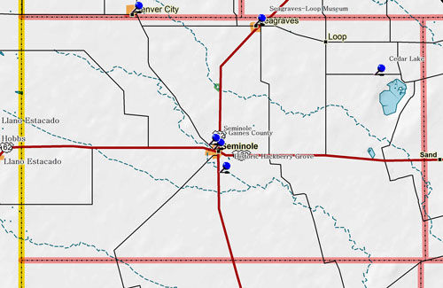 Map of Gaines County Historic Sites