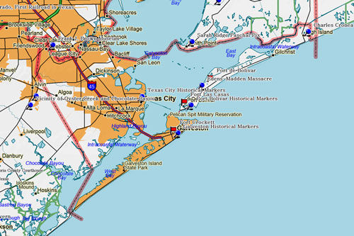 Map of Galveston County Historic Sites