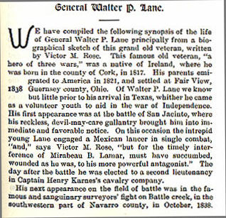 General Walter P. Lane story from the book Indian Depredations in Texas by J. W. Wilbarger