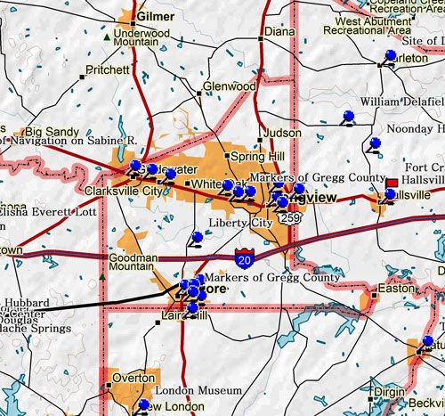 Map of Gregg County Historic Sites