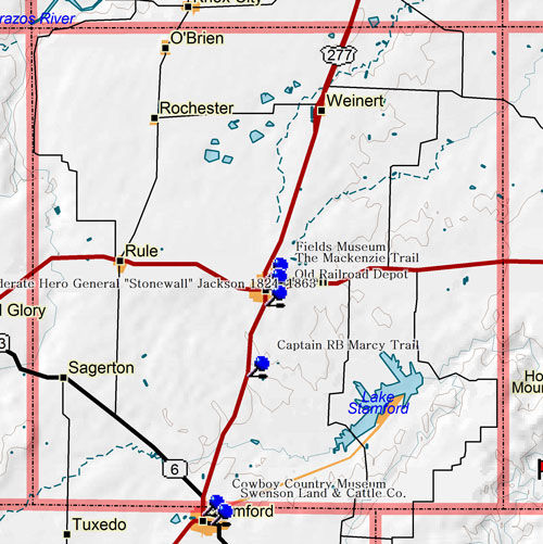 Map of Haskell County Historic Sites