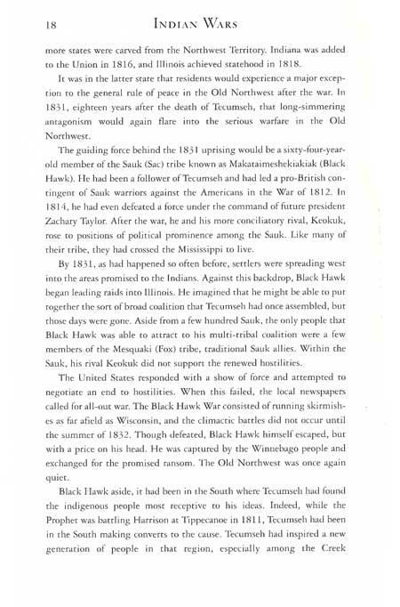Black Hawk Story from the book, Indian Wars, by Bill Yenne