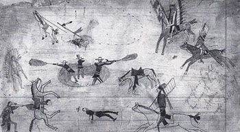 Picture of nineteenth-century Kiowa ledger drawing depicting the Buffalo Wallow Fight