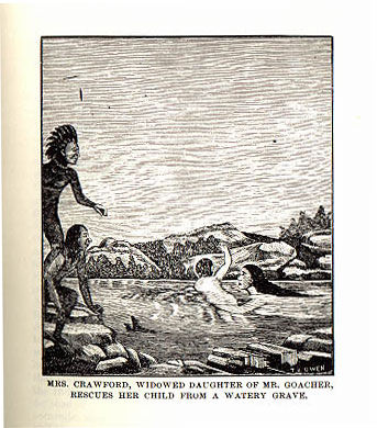 Picture of Mrs. Crawford rescuing child from the book Indian Depredations in Texas by J. W. Wilbarger