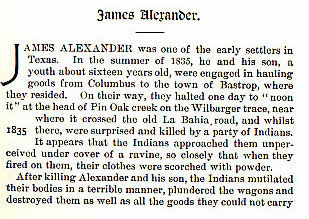 James Alexander story from the book Indian Depredations in Texas by J. W. Wilbarger