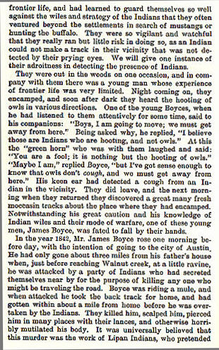 James Boyce story from the book Indian Depredations in Texas by J. W. Wilbarger
